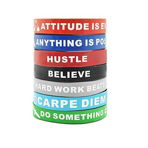 Band Message Inspirational - 7-Piece Motivational Wristband Set with Inspirational Messages Attitude is Everything, Carpe Diem, Imagine Believe Achieve and More | Silicone Rubber Stretch Bracelet for Men, Women and Teens.
