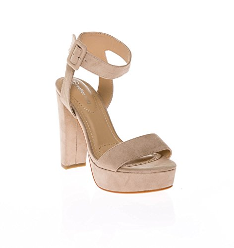 CALICO KIKI Women's Shoes Buckle Ankle Strap Open Toe Chunky High Heel Platform Dress Sandals (7.5 US, Taupe_SU) (Dress Platform)