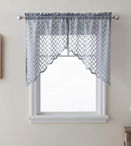 - HLC.ME Herringbone Semi Sheer Voile Kitchen Cafe Curtain Panels - Rod Pocket - Tiers, Swags & Valances for Small Windows & Bathroom - 30