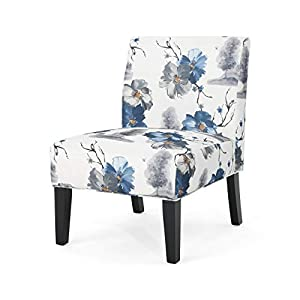 Christopher Knight Home 305498 Kendal Traditional Fabric Accent Chair, Print, Matte Black