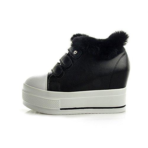 Btrada Inverno High-top Sneaker Hook & Loop Tacco A Zeppa Nascosto Fondo Spesso In Pelliccia Scarpe Sportive Casual Foderate Nere