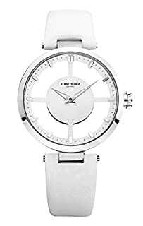 """Kenneth Cole New York Women's KC2609 """"Transparency"""" Stainless Steel Watch with White Leather Band (B004INIS7C)   Amazon price tracker / tracking, Amazon price history charts, Amazon price watches, Amazon price drop alerts"""