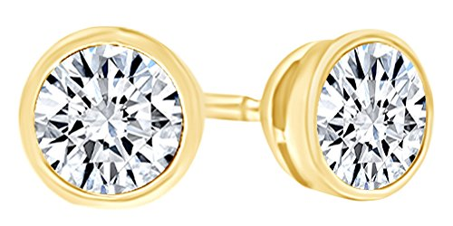 Round Shape White Natural Diamond Bezel Set Solitaire Stud Earrings In 14K Solid Yellow Gold (1.5 - Bezel Earrings Set Dangle Diamond