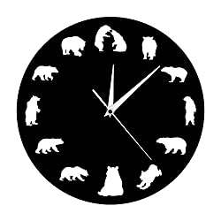 The Geeky Days Bear Grizzly American Forest Mountain Animal Nursery Wall Clock Bears with Different Poses Minimalist Design Modern Wall Clock