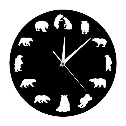 The Geeky Days Bear Grizzly American Forest Mountain Animal Nursery Wall Clock Bears with Different Poses Minimalist Design Modern Wall Clock -