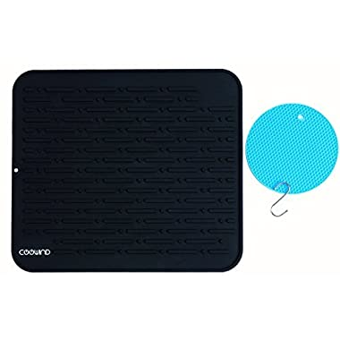 Coowind Silicone Quick Dish Drying Mat By Coowind- with Bonus Pot Trivet and S Hook-Extra Large 17.8  x 15.8'' (Black)