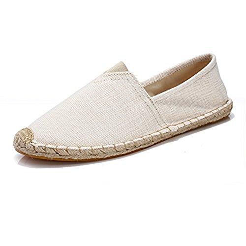 Unisex Breathable Canvas Shoes Slip-on Espadrilles Loafers Flats Shoes for Women Men Beige New EU43 (Beige Canvas Espadrilles)