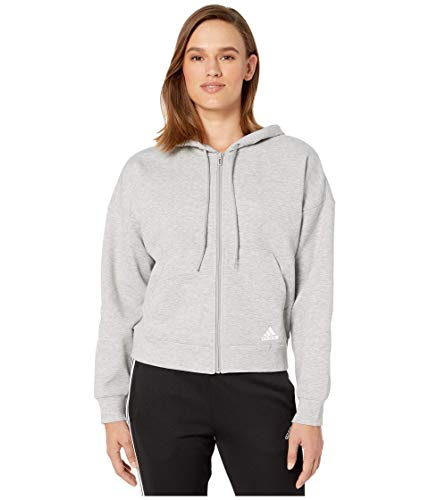 adidas Women's Must Haves Doubleknit Hoodie Medium Gray Heather/White X-Large