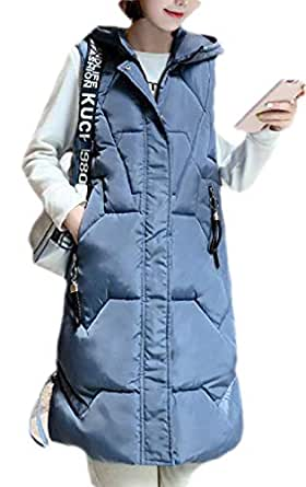 Macondoo Womens Hooded Winter Quilted Thick Cotton Padded Down Vest Coat Blue XS