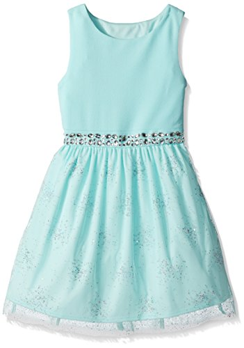 Amy Byer Big Girls' Ballerina Dress with Stone Waist Trim, Mint, 8