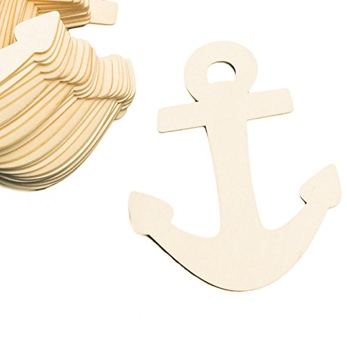 Factory Direct Craft Group of 24 Unfinished Wooden Anchor Cutouts for Kids Crafts, Creating and Embellishing