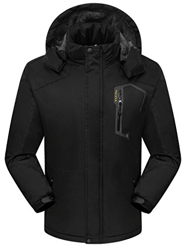 Vcansion Men's Winter Jacket Ski Snow Climbing Hiking Warm Coat Outdoor Sports Jacket Black M (Ice Chest Repair Kits compare prices)