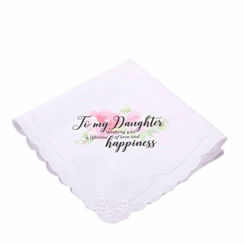 (Lillian Rose AZ270002 DA Pink Floral to My Daughter Hankie, White)