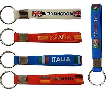 Llavero de Silicona de Banderas de Europa. 5 Unidades con ...