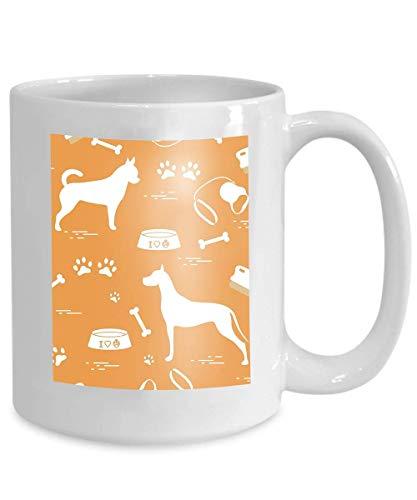- mug coffee tea cup seamless pattern great dane chihuahua silhouette comb collar leash bone bowl food dog tracks design banner poster 110z