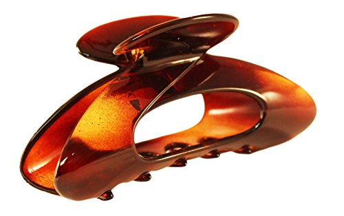 Parcelona France Ovale Medium 3.5 Inches Covered Spring Celluloid Hair Claw Clip