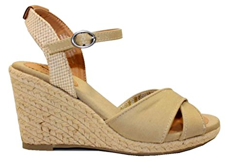 Pepe Jeans London Shark Basic, Sandalias Para Mujer Beige