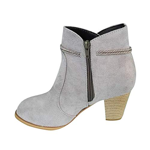 Booties Damen Mode, Sonnena Rund Toe Knöchel Stiefel High Heels Plateau Stiefeletten Einfarbig Quaste Stiefel Outdoor Party Stiefel Boots Schuhe Kurzstiefel Damenstiefel Grau