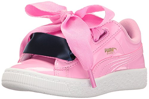 PUMA Girls' Basket Heart Patent Sneaker, Prism Pink, 2.5 M US Little Kid