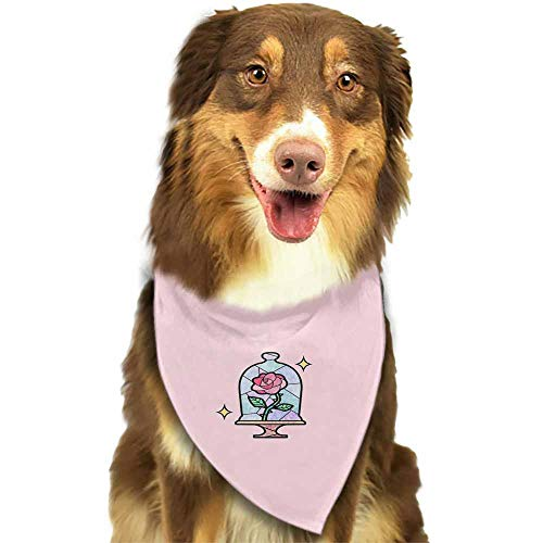 Custom Made Dog and Cat Bandana Plaid Triangle Bibs Scarf,Soft Cotton Accessories Neckerchief for Pets-Disney Beauty Beast Aesthetic Eternal Rose Pattern Printing Colorful