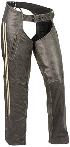 Milwaukee Leather Women's Chap with Color Stripe (Grey, X...