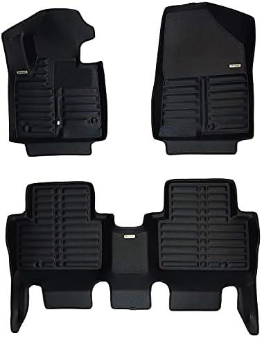 TuxMat Custom Car Floor Mats for Hyundai Santa Fe Sport 2013-2018 Models– Laser Measured, Largest Coverage, Waterproof, All Weather.The BestHyundai Santa Fe Sport Accessory. (Full Set – Black)