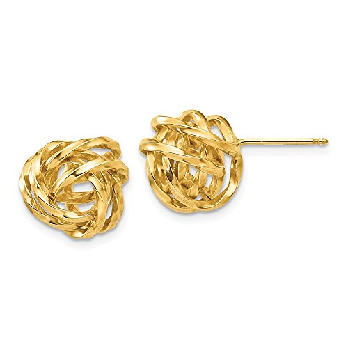 14k Yellow Gold Polished Love Knot Post Earrings (0.4IN x 0.4IN ) by Jewelry Pot (Image #3)