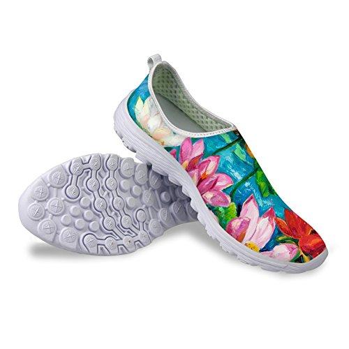 För U Designar Mode Bekväm Slip På Mesh Promenader Löparskor För Kvinnor Blomma 5