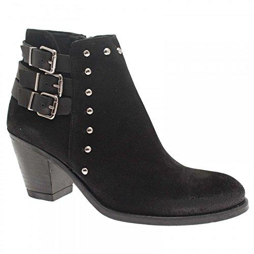 Alpe Block Heel Ankle Boot 3 Buckle Detail Black Suede