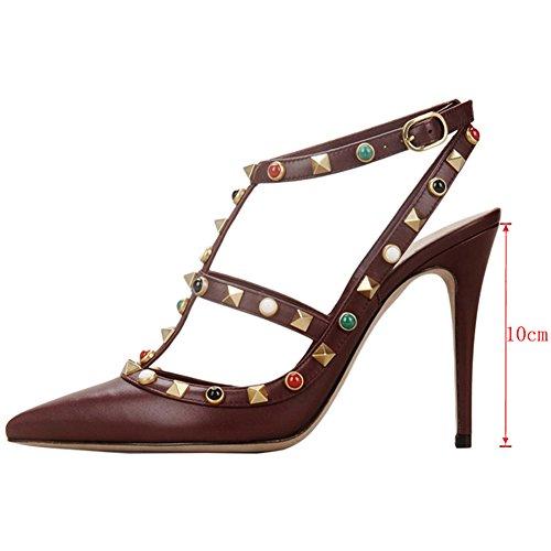 EKS - Zapatos de vestir para mujer 46 Burgund-Matt