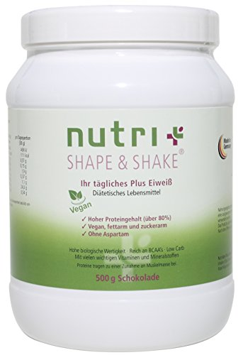 Nutri-Plus Shape & Shake Vegan Schokolade 500g - Veganes Proteinpulver ohne Aspartam, Laktose & Milcheiweiß