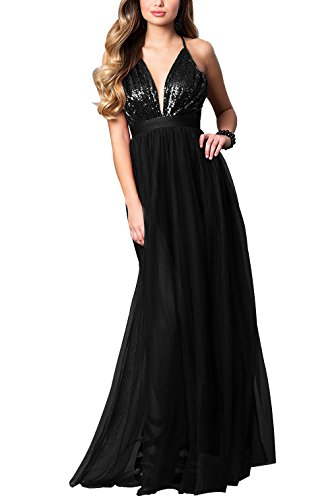 Beauty Bridal Women's Long V-Neck Tulle Prom Dress with Empire Waist Sequin Evening Gowns L043 (10,Black)