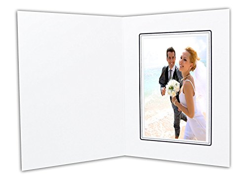 Pack of 100 4x6 Photo Folders - White with Black Lining - Side Slip Insert - Acid Free - Great for Portraits and Photos, Special Events: Graduation, Weddings, Engagements, Baby Showers