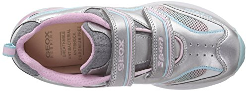 Geox J Shuttle Girl B - Zapatillas Niñas Plateado / Rosa