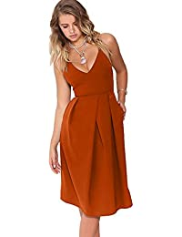 5b8e4d90cca3 Women s Deep V Neck Adjustable Spaghetti Straps Summer Dress Sleeveless  Sexy Backless Party Dresses with Pocket