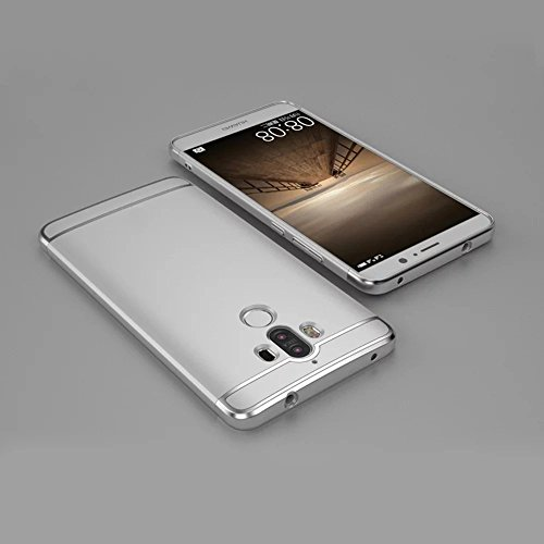 Funda Huawei Mate 9 5.9 pulgadas , Sunroyal 3 en 1 Desmontable Ultra-Delgado Anti-Arañazos PC Estuche Rígido de 360 ??Grados Completa Protección [ Premium Mate Duro ] Hybrid Carcasa de Ajuste Para Red Plata