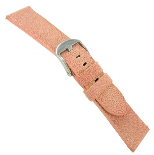 22mm deBeer Genuine Sting Ray Pink Padded Watch Band - Ray Pink Bands