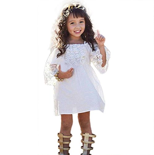 GBSELL Toddler Kids Baby Girls Summer Clothes Lace Off Shoulder Dresses Party Wedding (White, 5/6T) -