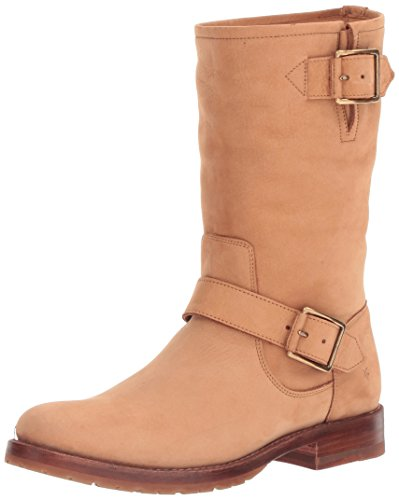FRYE Women's Natalie Mid Engineer Boot, Sand, 7 M US (Leather Sand Boots)