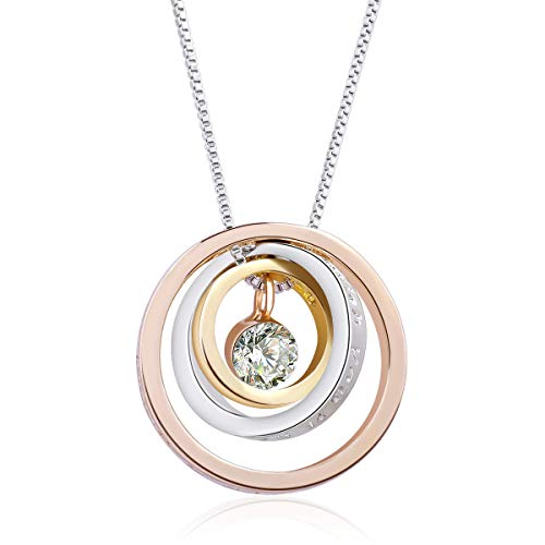 (Twenty Plus Round Crystal Pendent Necklace with Three Rings Design Gift for Women Girls Holiday Christmas (Rose Gold Colored))