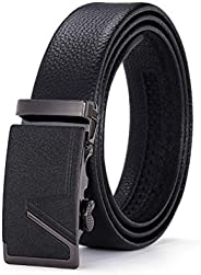 Men's Ratchet Leather Belt, Automatic Leisure Belt Buckle Belt, Very Suitable for Formal Casual, Denim and