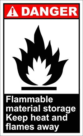 Flammable Material Storage Danger OSHA/ANSI Sign Stickers Decal Lable Vinyl Warning Stickers Funny Safety Notice Sign Lable Self Adhesive ()
