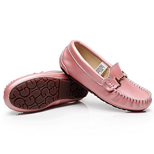 Chaussures Sur Conduire Shenn Cuir Glisser Voiture Mocassins Une Femme Rose Confort 1Onq167x