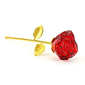 Glass Rose Flower, 24K Gold Plated Long Stem Artificial Red Rose Flower Anniversary Birthday Valentines Gift for Her