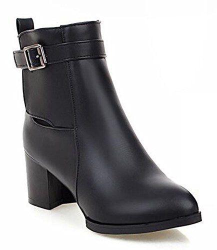 CHFSO Womens Trendy Solid Round Toe With Buckle Zipper Mid Chunky Heel Platform Boots Black qxfyw6