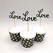 Hemarty 24pcs Black Love Cupcake Toppers Wedding Cupcake Toppers Valentine's Day Birthday Appetizer Horderves Food Pick