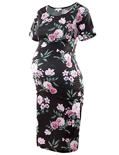 Floral Maternity Dress Short Sleeve Bodycon Ruched Side Knee Length Dress Dark Black with Pink Flower XL ()