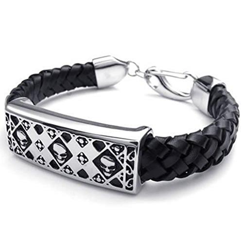 Epinki Stainless Steel Bracelet, Mens Square Skull Bracelet Black Silver Length 8.5 Inch