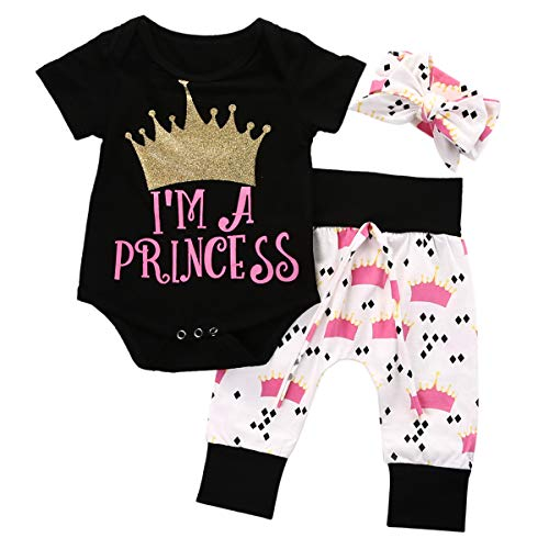 0-18M Newborn Girls Clothes Set Little Princess Crown Bodysuit Romper Pant Headpiece 3PCS Outfit Toddler Children Clothing Bebek Giyim Complete Moon Gift (Kitty Flannel Hello Fabric)