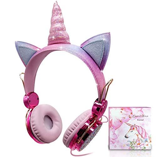 Unicorn Kids Headphones for Girls Children Teens, Wired Headphones for Kids with Adjustable Headband, 3.5mm Jack and Tangle-Free Cord, Over On Ear Headset w/Mic for School Birthday Xmas Unicorn Gift